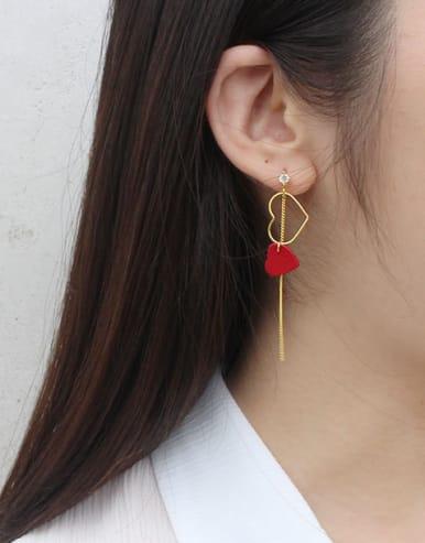 Personalized Cubic Zircon PU Leather Heart Silver Drop Earrings