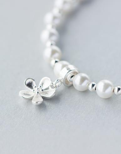 S925 Silver Sweet Pearl Bead Flower Lovely Bracelet