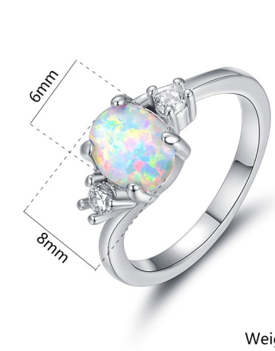 Natural Opal White Gold Plated Women Ring