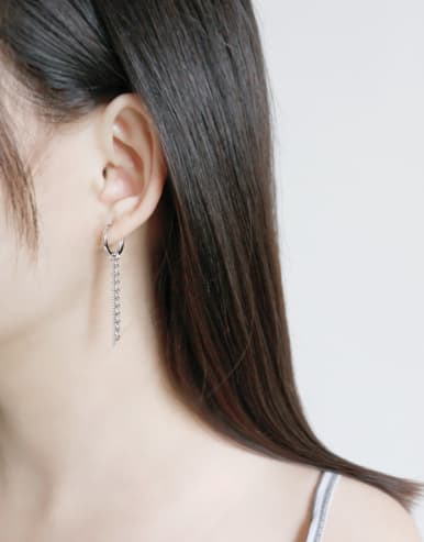 925 Sterling Silver Trendy Chain asymmetric Drop Earrings