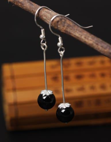 Retro Obsidian Silver Hook Earrings