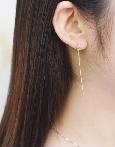 Simple Slim Chain Silver Gold Plated Line Earrings