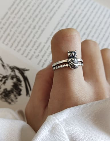 925 Sterling Silver With Antique Silver Plated Vintage Owl Rings
