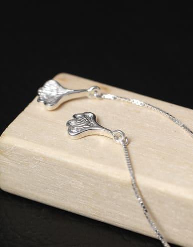 Lovely Ginkgo Leaves Long Line threader earring