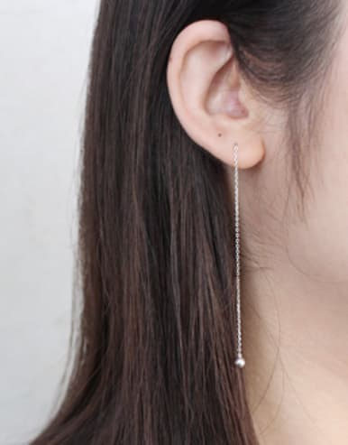 Simple Little Smooth Bead Silver Line Earrings