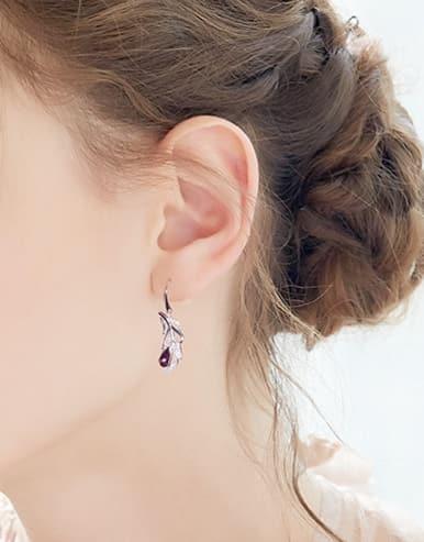 Fashion Shiny Swarovski Crystals 925 Silver Earrings