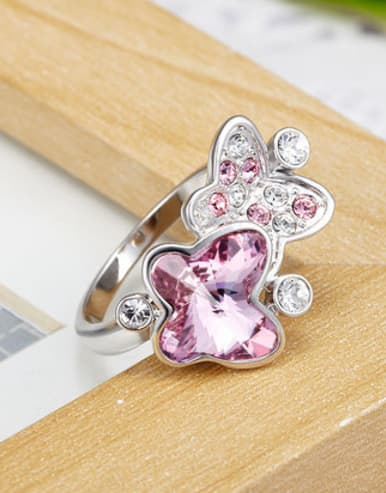 Fashion Swarovski Crystals Butterfly Copper Ring