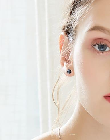 Tiny Black Zircon 925 Silver Stud Earrings