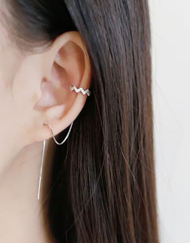 Fashion Cubic Tiny Zircon Silver Line Earrings