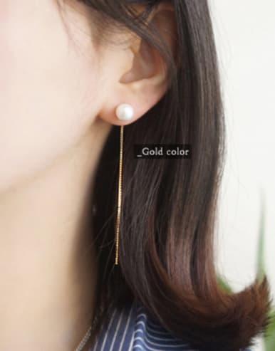 Simple White Artificial Pearls Slim Line Silver Stud Earrings