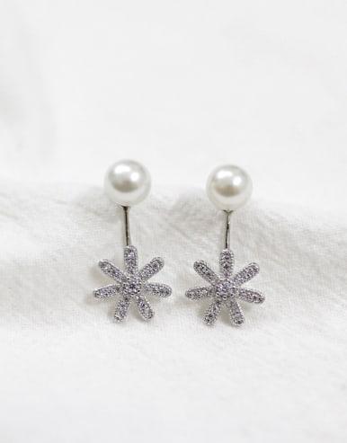 Artificial Pearl Cubic Rhinestones Flowery Silver Stud Earrings
