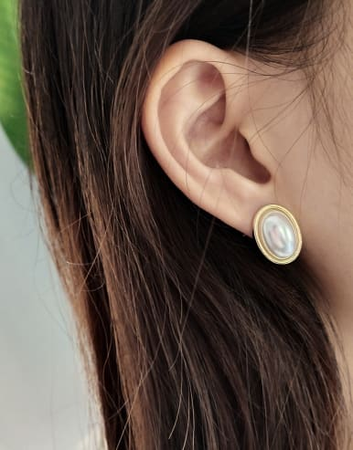 925 Sterling Silver With 18k Gold Plated Trendy Oval Stud Earrings