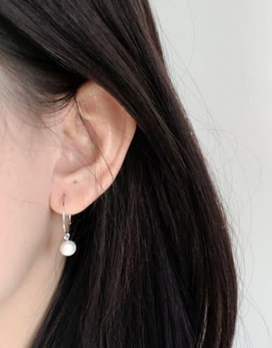 Simple White Artificial Pearl Silver Women Earrings