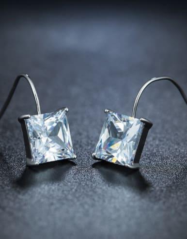 Fashion Square Zircon Stud Earrings