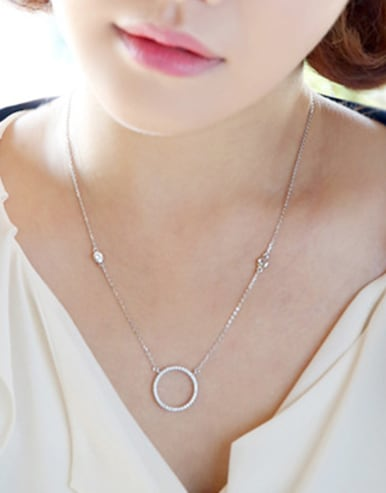 Simple Hollow Round Tiny Cubic Zirconias Silver Necklace