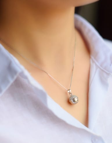 S925 silver fashion small bell zircon necklace
