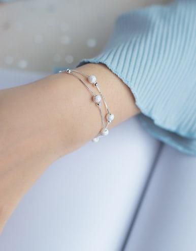 S925 silver matte smooth balls fashion double chain bracelet