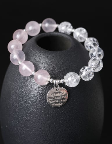 Fashion Natural Crystal Beads 925 Silver Charm Bracelet