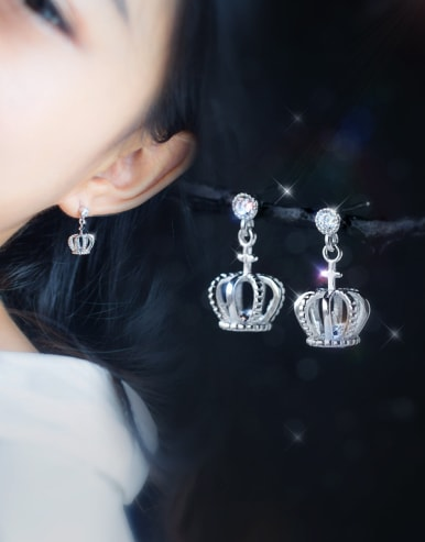 S925 silver sweet small crown drop earring and necklace