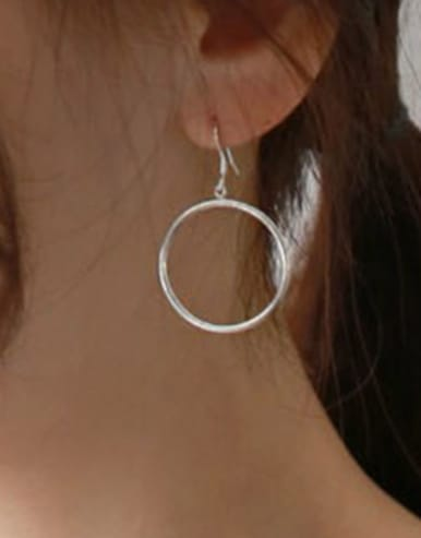 Simple Hollow Round Silver Women Earrings