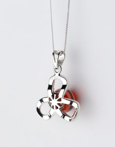 Fresh Hollow Clover Shaped Red Crystal Silver Pendant