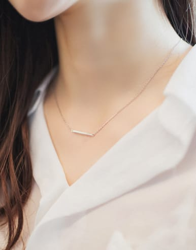 S925 Silver Slot Type Simple Necklace