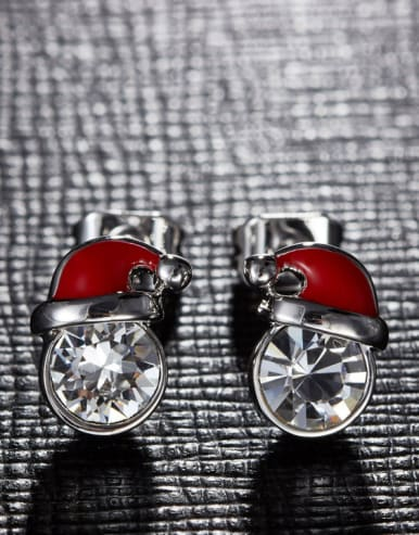 Tiny Personalized White Crystal Christmas Hat Copper Stud Earrings