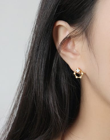 925 Sterling Silver With 18k Gold Plated Cute Star Stud Earrings