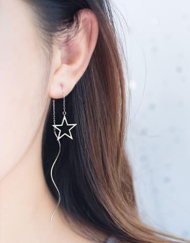 Women Elegant Star Shaped S925 Silver Line Earrings