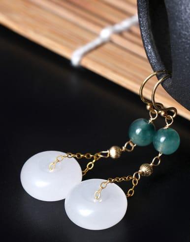 Elegant Jade Retro Style Drop Earrings