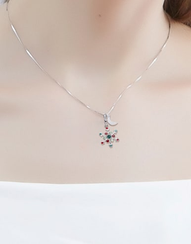Snowflake Shaped Multi-color Crystal Necklace
