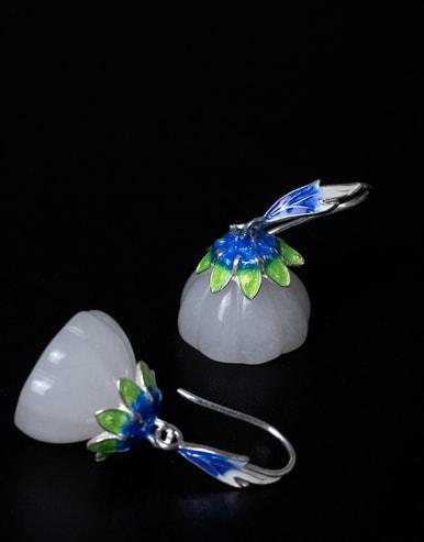 Ethnic style White Jade Lotus Seedpod 925 Silver Earrings