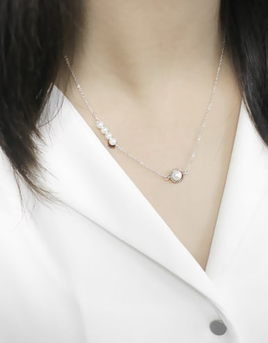 Fashion White Artificial Pearls Silver Women Necklace