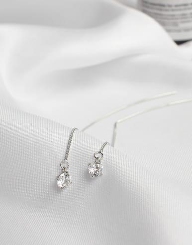 Simple Silver Cubic Zircon Line Earrings