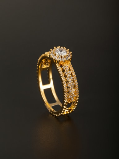 A Gold Plated Copper Stylish Zircon Ring Of  Combination of