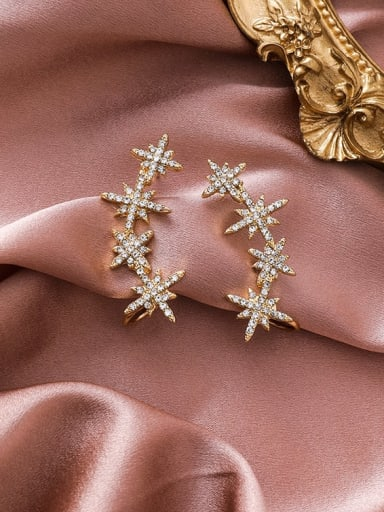 Alloy With Rose Gold Plated Fashion Star Drop Earrings