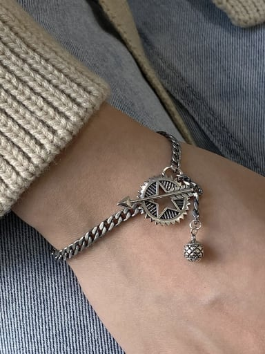 925 Sterling Silver With Gun Plated Vintage Hollow Star  Bracelets