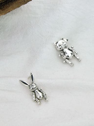 Vintage  Sterling Silver With Antique Silver Plated Trendy Animal Pendants