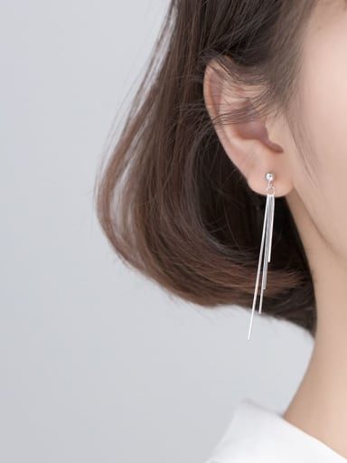 925 Sterling Silver With Platinum Plated Fashion Tassel Threader Earrings
