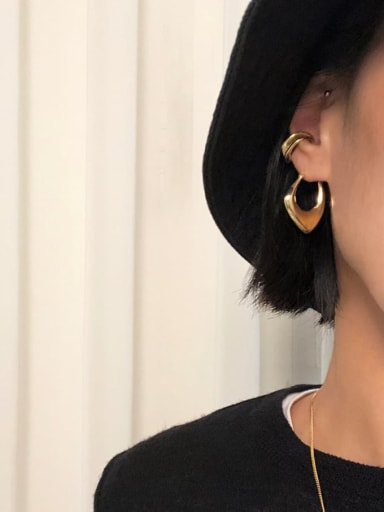 925 Sterling Silver With Gold Plated Simplistic Smooth Geometric Clip On Earrings