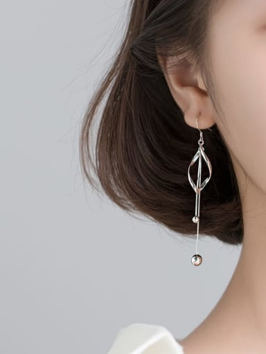 925 Sterling Silver With Platinum Plated Simplistic Hollow Geometric Threader Earrings