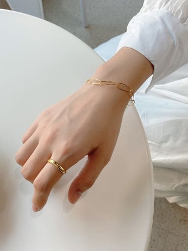 925 Sterling Silver With Gold Plated Simplistic Hollow Geometric Bracelets
