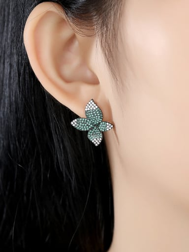 Copper With Gun Plated Fashion Flower Stud Earrings