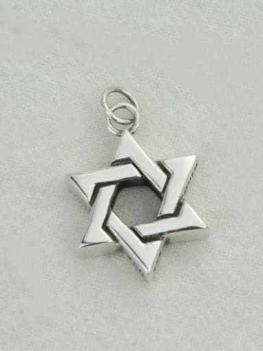 Vintage Sterling Silver With Platinum Plated Simplistic Hollow Star Pendants