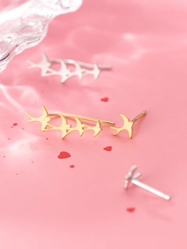 925 Sterling Silver With Gold Plated Simplistic Smooth Star Stud Earrings
