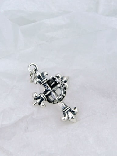Vintage Sterling Silver With Antique Silver Plated Vintage Crown Cross   Pendants