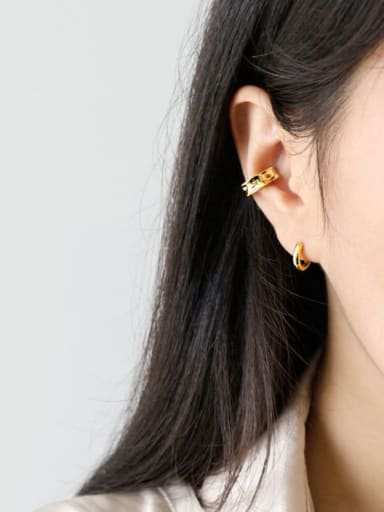 925 Sterling Silver With Gold Plated Simplistic Geometric Irregular Pierced ear clips