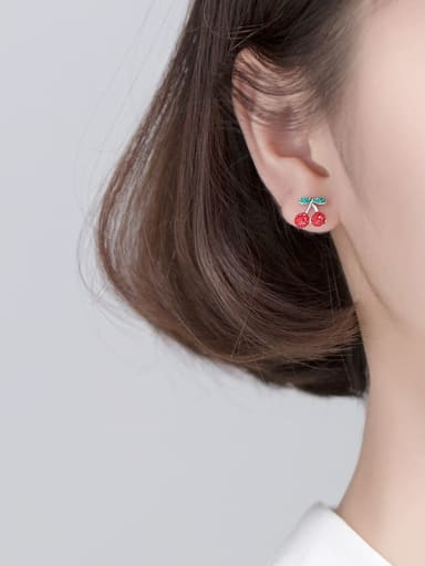 925 Sterling Silver With Platinum Plated Fashion Cherry Stud Earrings
