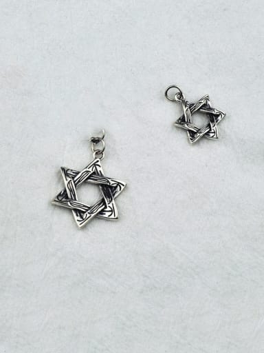 Vintage Sterling Silver With Antique Silver Plated Simplistic Hollow  Star Pendants