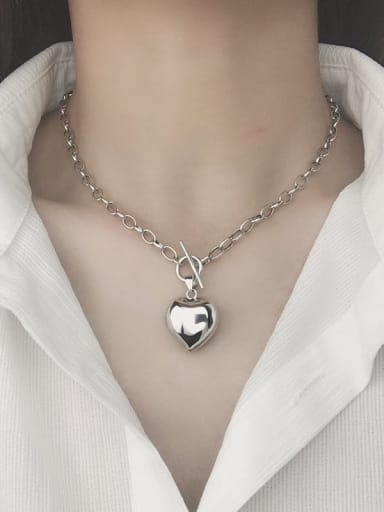 Vintage Sterling Silver With Platinum Plated Simplistic Heart Locket Necklace